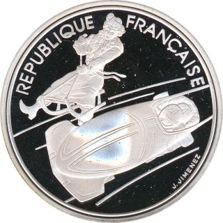 Frankreich 100 Francs 1990 PP Olympiade 1992 in Albertville - Bob Silber*